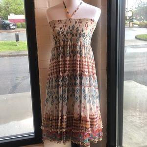 Anthro Lapis summer dress halter straps XL